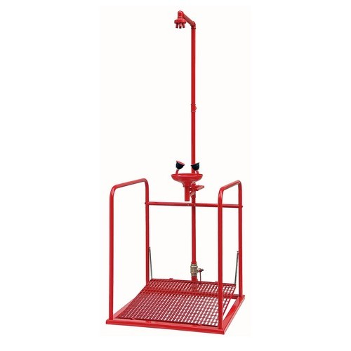 Emergency shower with platform and eye-washer TOF, mod. 1100-470H